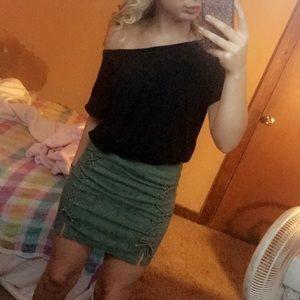 green side slit skirt